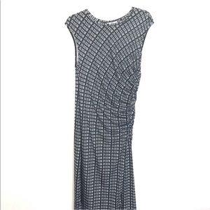 Zara Large Ruched Dress Midi Black White